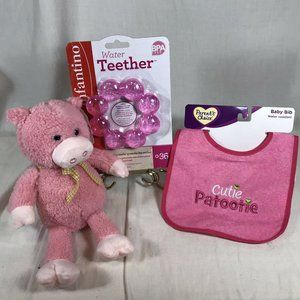Baby Girl Gift Set Pink Plush Pig Chewable Teether